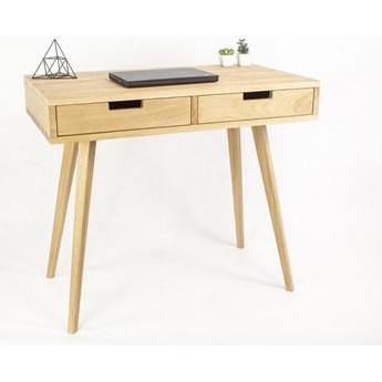Dębowe lite designerskie Biurko Lea z z dębowymi szufladami w stylu skandynawskim, nowoczesne