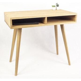 Dębowe lite designerskie Biurko Lea z dwiema półkami w stylu skandynawskim, nowoczesne, półki