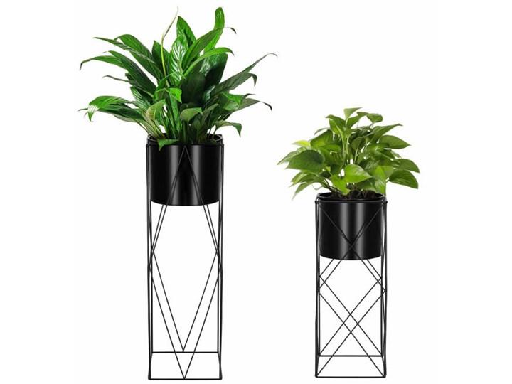 Stojący kwietnik 2 szt. stojak z doniczką na kwiaty nowoczesny loft 70, 53 cm czarny mat