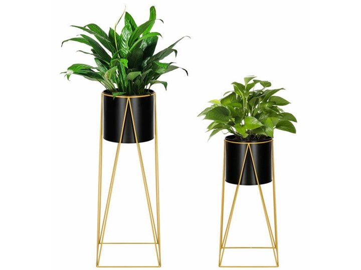 Stojący kwietnik 2 szt. stojak z doniczką na kwiaty nowoczesny loft 70, 52 cm czarno-złoty mat Metal Kolor Czarny