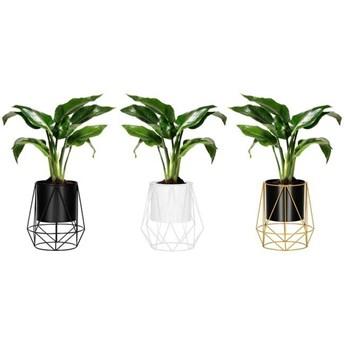 Stojący kwietnik 3 szt. stojak z doniczką na kwiaty nowoczesny loft 26,5 cm czarny, złoty, biały