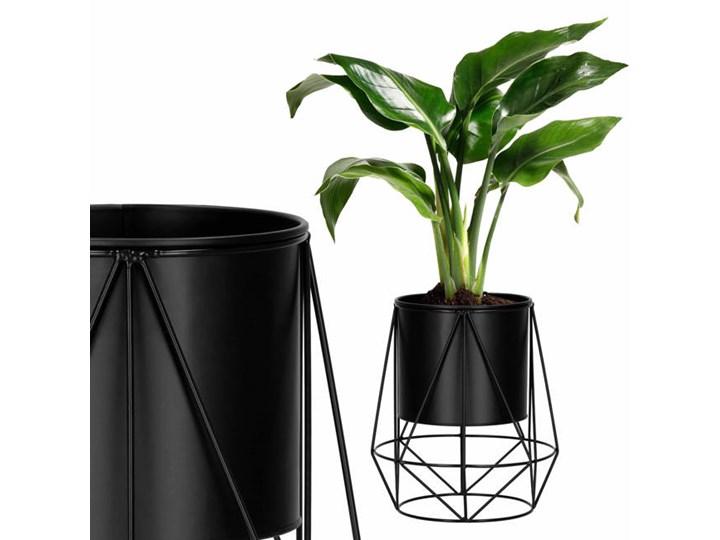 Stojący kwietnik 26,5 cm stojak z doniczką na kwiaty nowoczesny loft czarny mat
