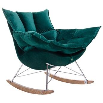Tapicerowany ciemnozielony bujany fotel - Cradle