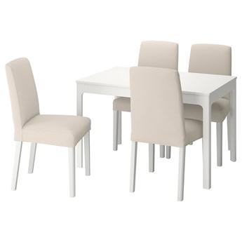 IKEA EKEDALEN / BERGMUND Stół i 4 krzesła, biały/Hallarp beżowy/biały, 120/180 cm