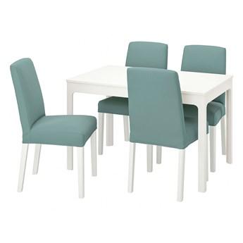 IKEA EKEDALEN / BERGMUND Stół i 4 krzesła, biały/Ljungen jasnozielony, 120/180 cm