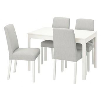 IKEA EKEDALEN / BERGMUND Stół i 4 krzesła, biały/Orrsta jasnoszary/biały, 120/180 cm