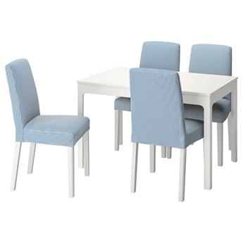 IKEA EKEDALEN / BERGMUND Stół i 4 krzesła, biały/Rommele jasnoszary/biały, 120/180 cm