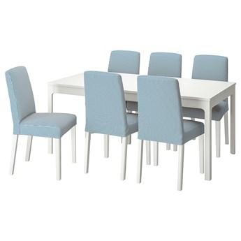 IKEA EKEDALEN / BERGMUND Stół i 6 krzeseł, biały/Rommele granatowy/biały, 180/240 cm