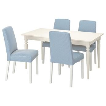 IKEA INGATORP / BERGMUND Stół i 4 krzesła, biały/Rommele granatowy/biały, 155/215 cm