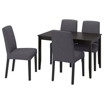 IKEA LERHAMN / BERGMUND Stół i 4 krzesła, czarnybrąz/Gunnared średnioszary, 118x74 cm