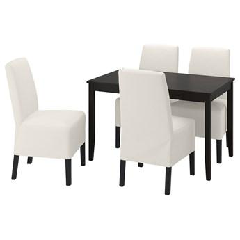 IKEA LERHAMN / BERGMUND Stół i 4 krzesła, czarnybrąz/Inseros biały/czarny, 118x74 cm