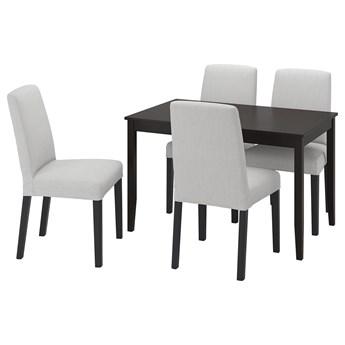 IKEA LERHAMN / BERGMUND Stół i 4 krzesła, czarnybrąz/Orrsta jasnoszary/czarny, 118x74 cm