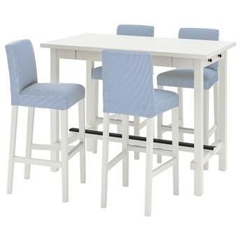 IKEA NORDVIKEN / BERGMUND Stół barowy + 4 krzes bar, biały/Rommele granatowy/biały