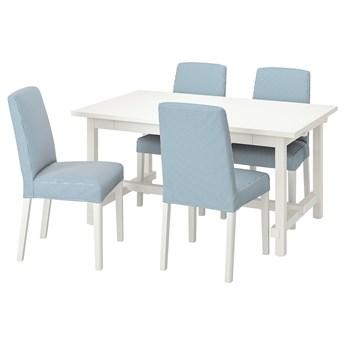 IKEA NORDVIKEN / BERGMUND Stół i 4 krzesła, biały/Rommele granatowy/biały, 152/223 cm