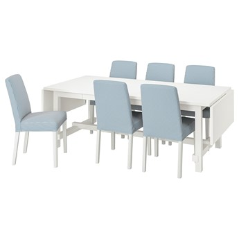 IKEA NORDVIKEN / BERGMUND Stół i 6 krzeseł, biały/Rommele granatowy/biały, 210/289 cm