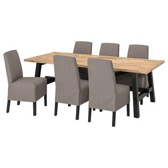 IKEA SKOGSTA / BERGMUND Stół i 6 krzeseł, akacja/Nolhaga szary/beż, 235x100 cm