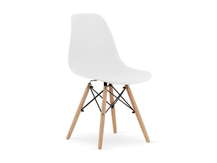 Krzesło Enzo Dsw Paris bukowe nogi białe Wysokość 81 cm Tworzywo sztuczne Szerokość 46 cm Głębokość 40 cm Krzesło inspirowane Drewno Metal Szerokość 41 cm Głębokość 41 cm Kolor Biały