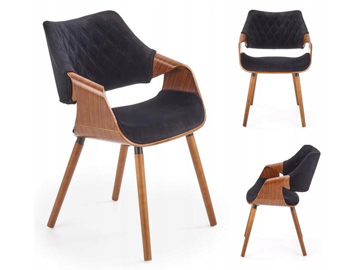 Krzesło K396 Czarny Orzech Loft do Jadalni Wysokość 77 cm Szerokość 56 cm Głębokość 55 cm Krzesło inspirowane Drewno Tkanina Tapicerowane Pikowane Welur Styl Klasyczny