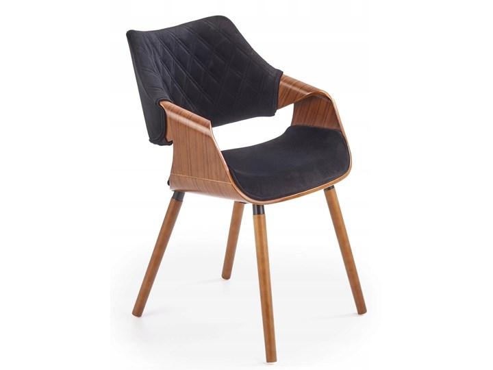Krzesło K396 Czarny Orzech Loft do Jadalni Tkanina Drewno Krzesło inspirowane Welur Wysokość 77 cm Pikowane Tapicerowane Głębokość 55 cm Styl Klasyczny Szerokość 56 cm Pomieszczenie Jadalnia