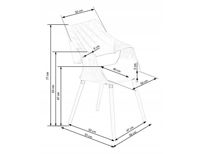 Krzesło K396 Czarny Orzech Loft do Jadalni Tkanina Drewno Welur Tapicerowane Krzesło inspirowane Głębokość 55 cm Wysokość 77 cm Pikowane Szerokość 56 cm Pomieszczenie Jadalnia Styl Industrialny