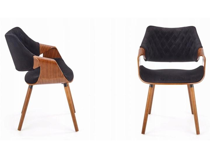 Krzesło K396 Czarny Orzech Loft do Jadalni Szerokość 56 cm Drewno Welur Tkanina Styl Glamour Tapicerowane Pikowane Głębokość 55 cm Krzesło inspirowane Wysokość 77 cm Kategoria Krzesła kuchenne