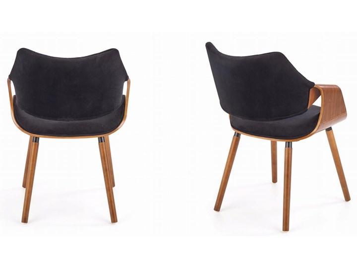 Krzesło K396 Czarny Orzech Loft do Jadalni Głębokość 55 cm Tapicerowane Styl Industrialny Pikowane Wysokość 77 cm Krzesło inspirowane Drewno Szerokość 56 cm Welur Tkanina Kategoria Krzesła kuchenne