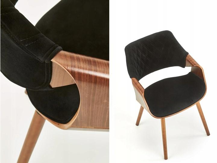 Krzesło K396 Czarny Orzech Loft do Jadalni Wysokość 77 cm Szerokość 56 cm Głębokość 55 cm Krzesło inspirowane Drewno Styl Glamour Pikowane Tapicerowane Welur Tkanina Styl Nowoczesny