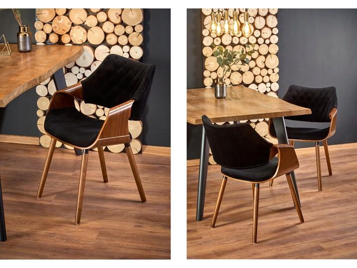 Krzesło K396 Czarny Orzech Loft do Jadalni Tkanina Pomieszczenie Jadalnia Szerokość 56 cm Pikowane Welur Drewno Głębokość 55 cm Krzesło inspirowane Wysokość 77 cm Tapicerowane Kategoria Krzesła kuchenne