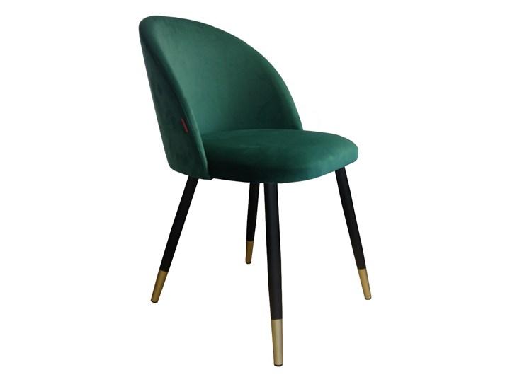 Krzesło CLAUDINE 1 VELVET GOLD zielone ATOS Stal Tkanina Metal Kolor Czarny