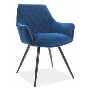 Krzesło LINEA VELVET granatowe/czarne SIGNAL