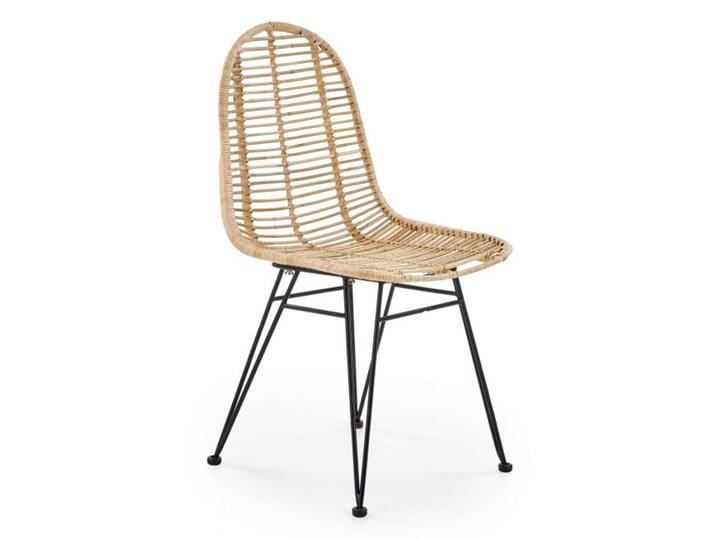 Krzesło K337 rattanowe HALMAR Kolor Brązowy Metal Tkanina Stal Styl Nowoczesny