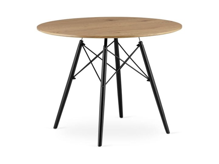 Stół okrągły Paris Milano 100x75 dąb Metal Wysokość 75 cm Długość 100 cm Szerokość 100 cm Drewno Płyta MDF Kategoria Stoły kuchenne