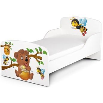 Białe łóżko drewniane z materacem 140/70 cm Motyw: Pszczółki i Miś