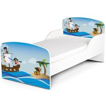 Białe łóżko drewniane z materacem 140/70 cm Motyw: Wyspa Skarbów