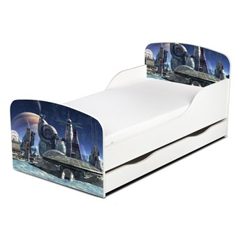 Drewniane łóżko z materacem i szufladą 140/70 cm Motyw: Kosmiczny Port