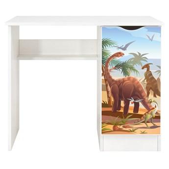 Białe biurko z szafką Roma /nadruk Dinozaury/