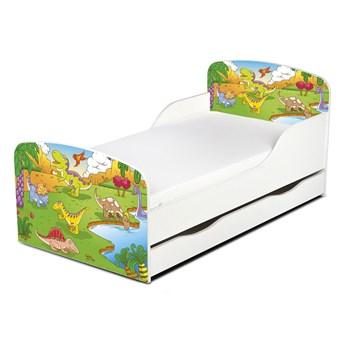 Drewniane łóżko z materacem i szufladą 140/70 cm Motyw: Dinozaury