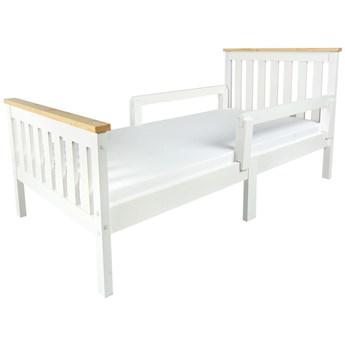 Łóżko białe Milano Pine 140/70 z materacem + barierki