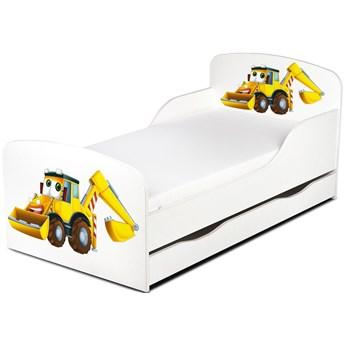 Drewniane łóżko z materacem i szufladą 140/70 cm Motyw: Koparka