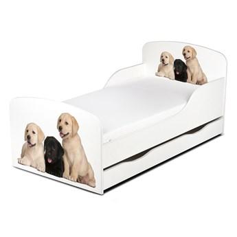 Drewniane łóżko z materacem i szufladą 140/70 cm Motyw: Pieski
