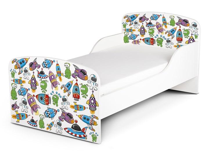 Białe łóżko drewniane z materacem 140/70 cm Motyw: Ufo Landia Drewno Rozmiar materaca 70x140 cm