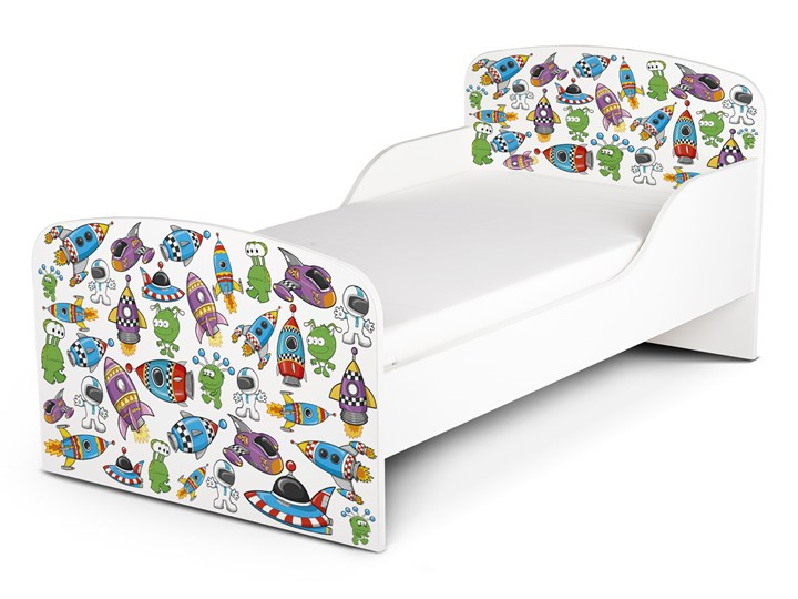 Białe łóżko drewniane z materacem 140/70 cm Motyw: Ufo Landia