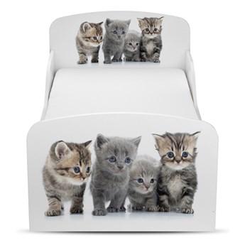 Białe łóżko drewniane z materacem 140/70 cm Motyw: Koty