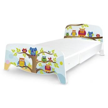 Łóżko segmentowe z regulacją długości Sofia + materac 140/90 Motyw: Sowy