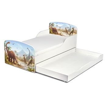 Drewniane łóżko z materacem i szufladą 140/70 cm Motyw: Dino Jurassic
