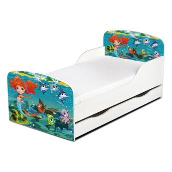Drewniane łóżko z materacem i szufladą 140/70 cm Motyw: Syrenka i przyjaciele