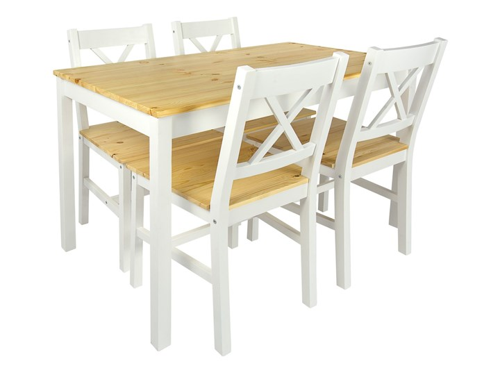 Stół + 4 krzesła do kuchni, jadalni, salonu - White/Pine