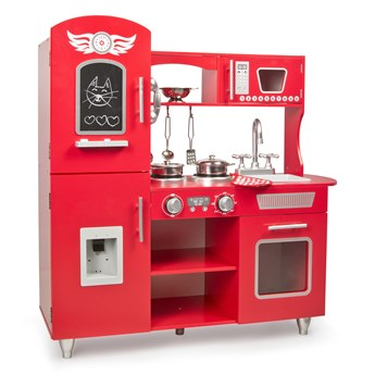 Drewniana Kuchnia Big Red z akcesoriami + efekty świetlne i dżwiękowe
