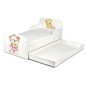 Białe łóżko drewniane z materacem i szufladą 140/70 cm Motyw: Misie