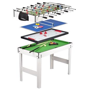 Stół do gier 4 w 1: PIŁKARZYKI, BILARD, TENIS, CYMBERGAJ